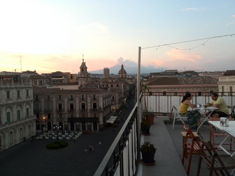 Vista dall'alto di Piazza Università e Via Etnea - Catania