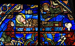 The Burial of St Thomas Beckt - Chartres Cathedral (stainglass window)