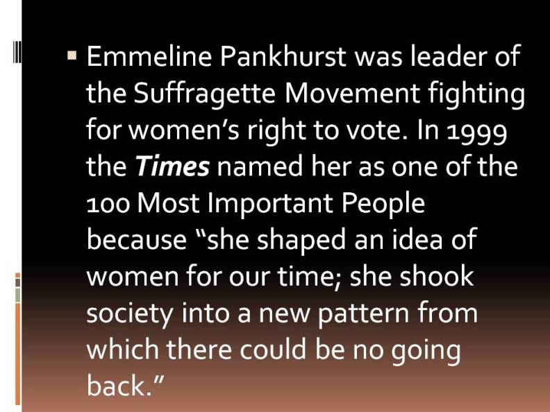 "Emmeline Pankhurst and ""Time"""
