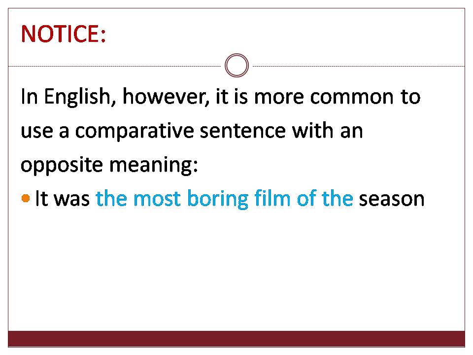 Comparative sentence of opposite meaning